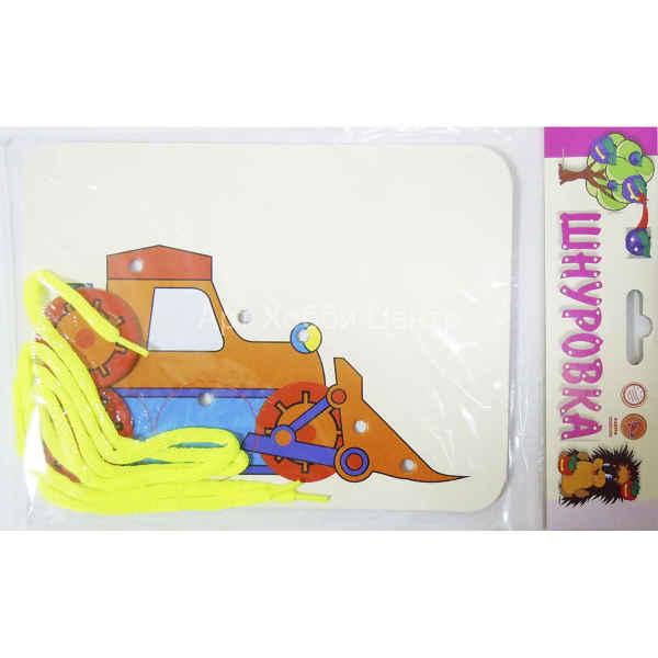 Купить Детская игра шнуровка + раскраска Бульдозер + 2 ...